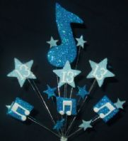 MUSIC NOTES 13TH BIRTHDAY CAKE TOPPER DECORATION IN SHADES OF BLUE - Free postage